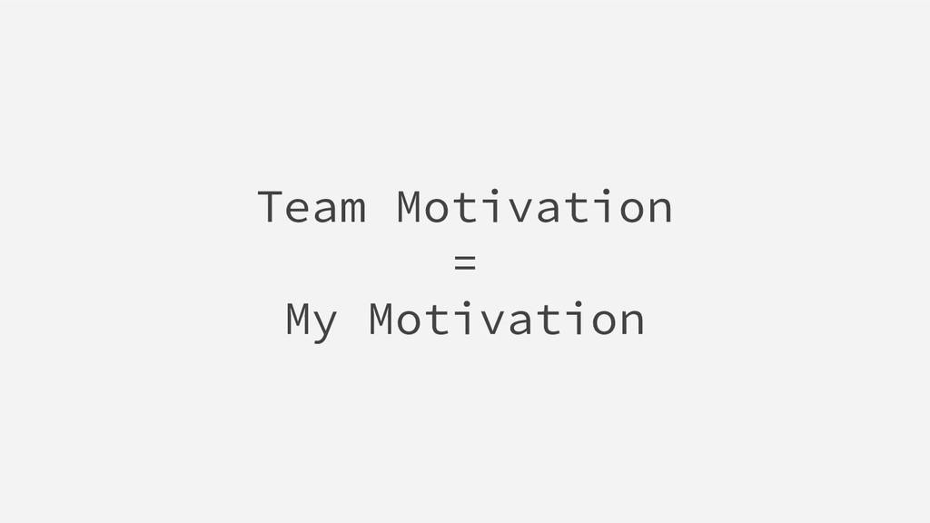 Team Motivation = My Motivation