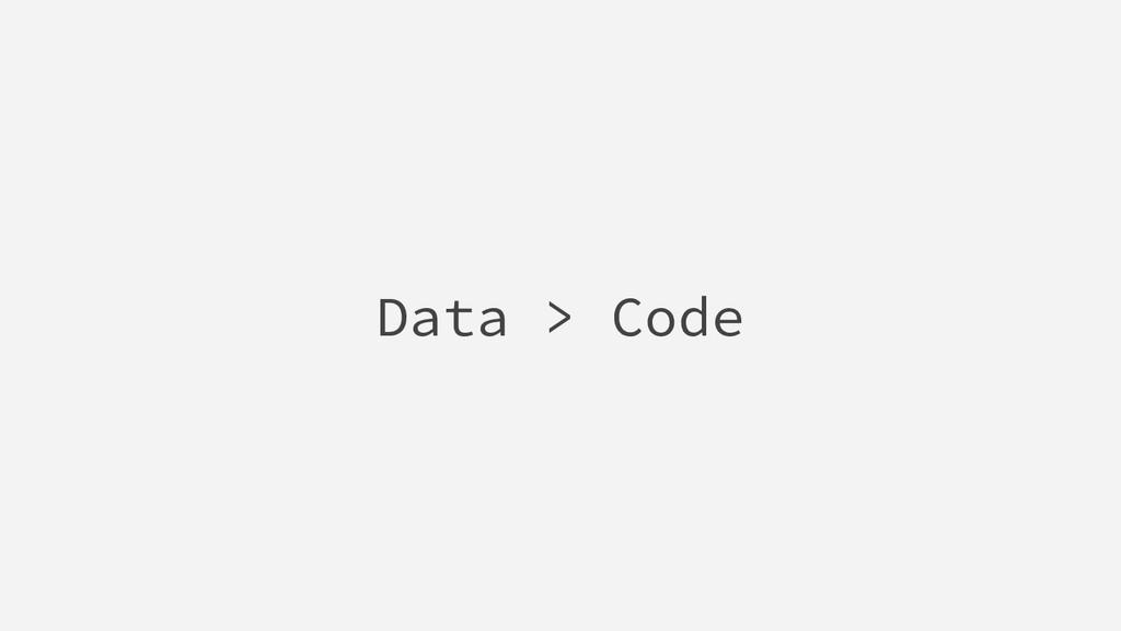 Data > Code