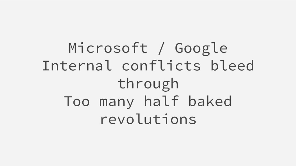 Microsoft / Google Internal conflicts bleed thr...