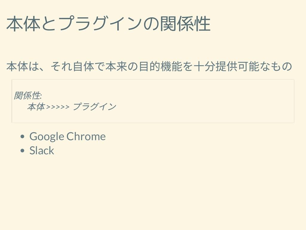 本体とプラグインの関係性 本体は、それ⾃体で本来の⽬的機能を⼗分提供可能なもの Google ...