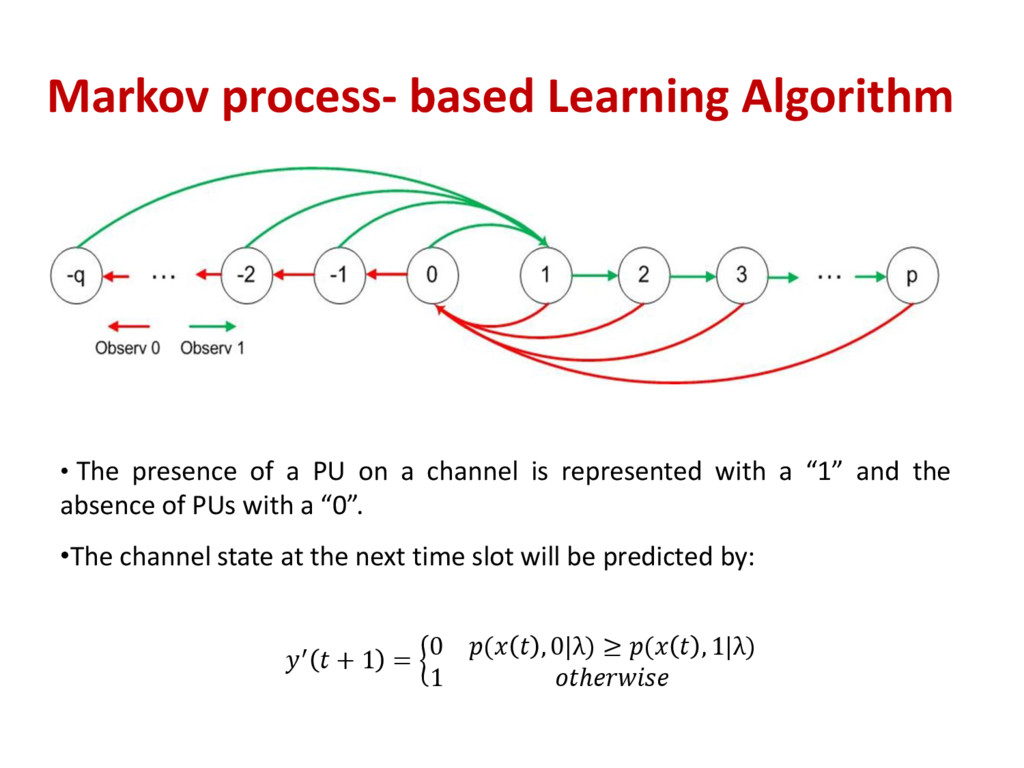 Markov process- based Learning Algorithm • The ...