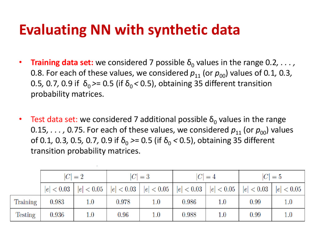 Evaluating NN with synthetic data • Training da...