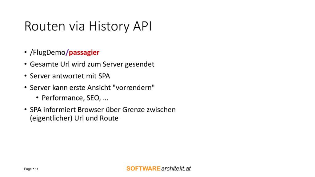 Routen via History API • /FlugDemo/passagier • ...