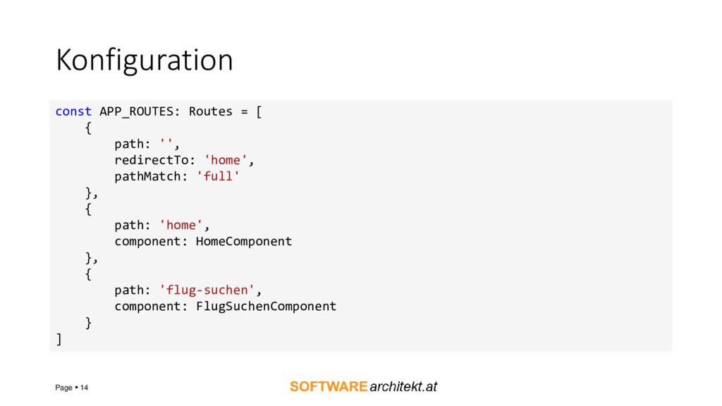 Konfiguration Page ▪ 14 const APP_ROUTES: Route...