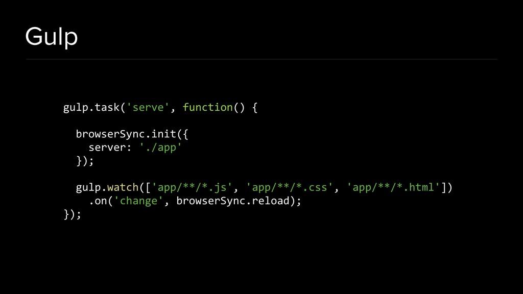 Gulp gulp.task('serve', function() { browserSyn...