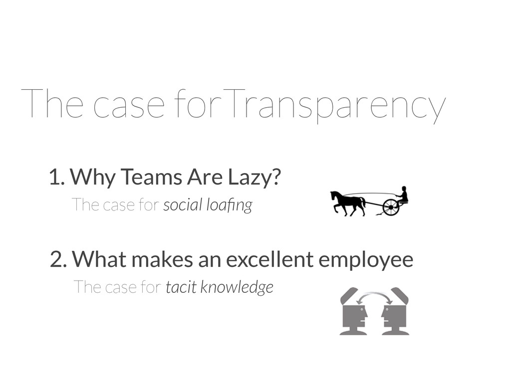 The case forTransparency 1. Why Teams Are Lazy?...