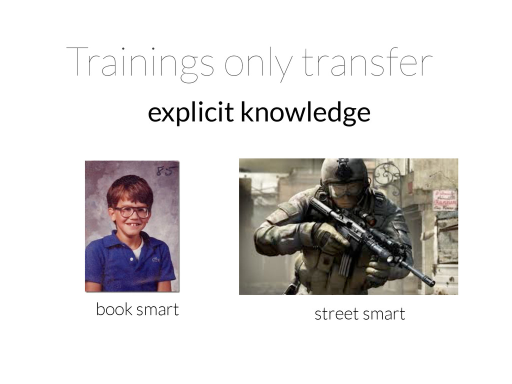 Trainings only transfer explicit knowledge book...