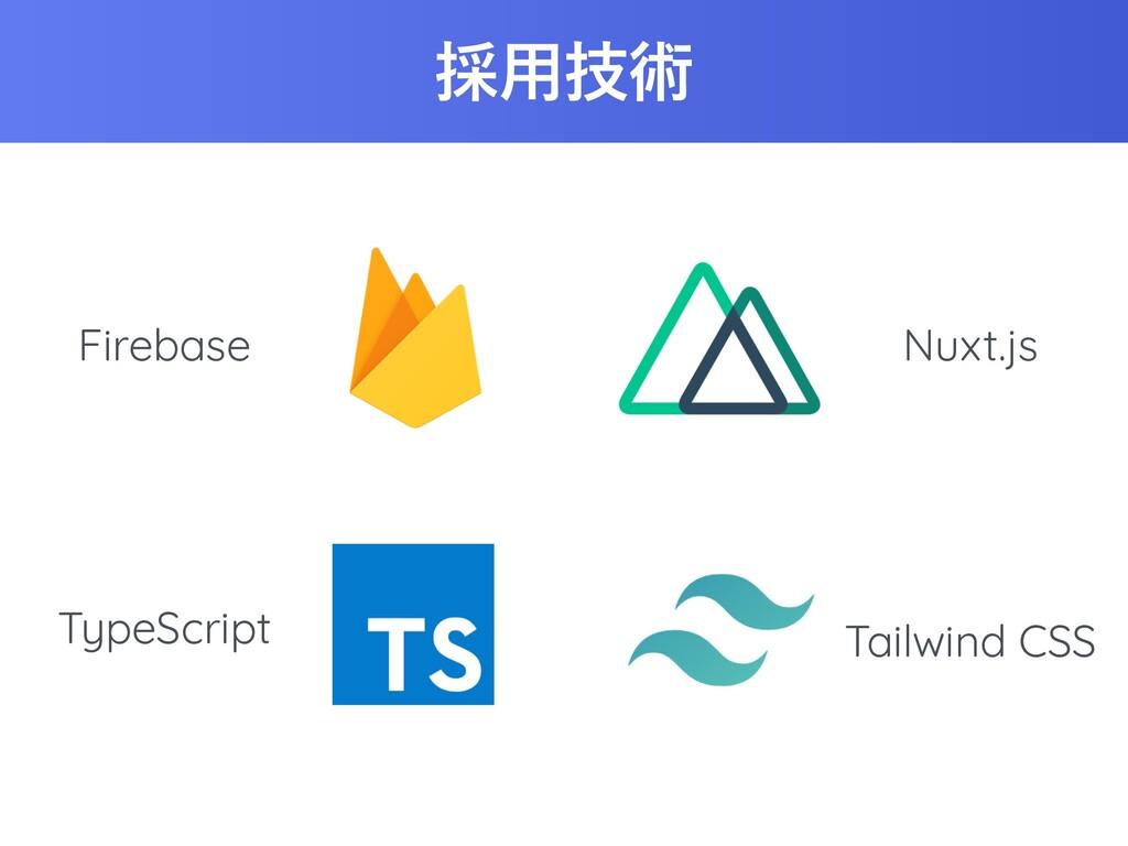 ࠾༻ٕज़ Firebase Nuxt.js TypeScript Tailwind CSS