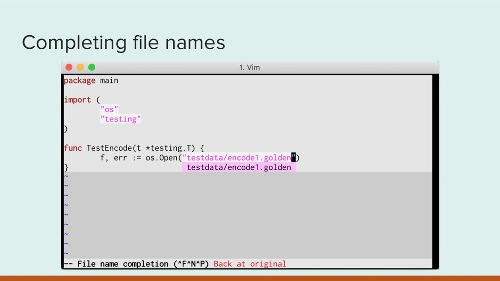 Completing file names