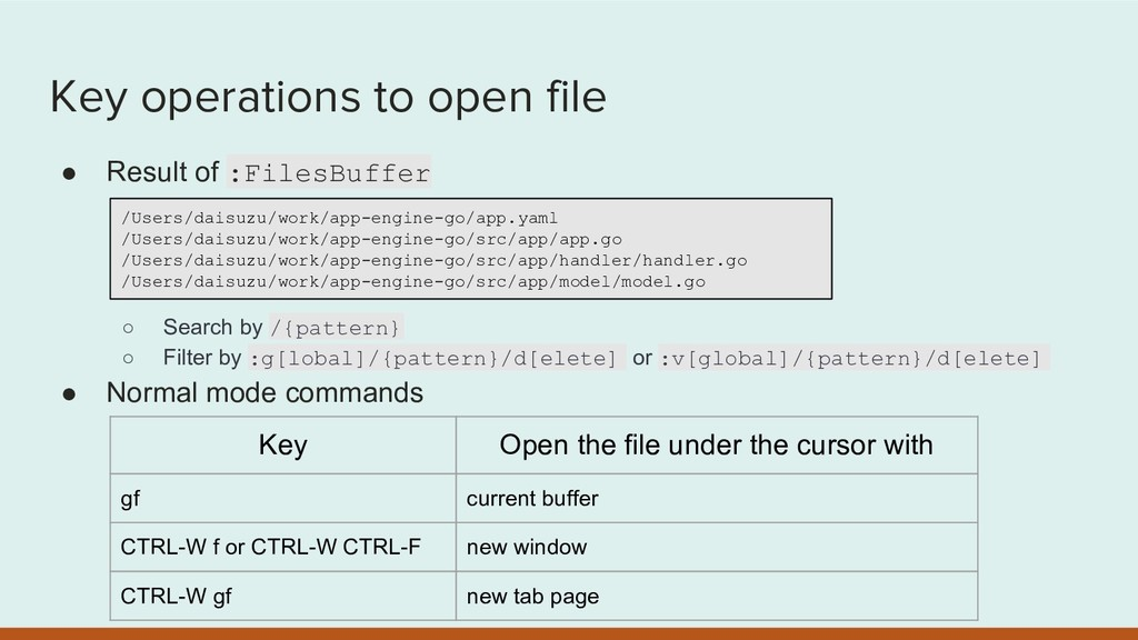 Key operations to open file ● Result of :FilesB...
