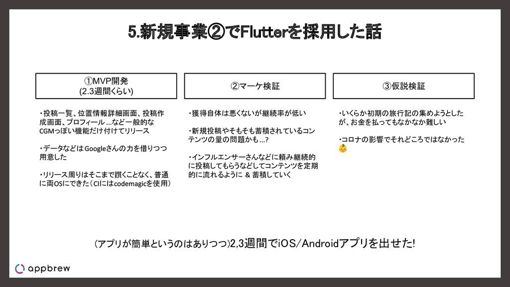 5.新規事業②でFlutterを採用した話 ①MVP開発 (2.3週間くらい) ・投稿一覧、...