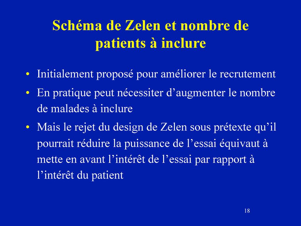 18 Schéma de Zelen et nombre de patients à incl...