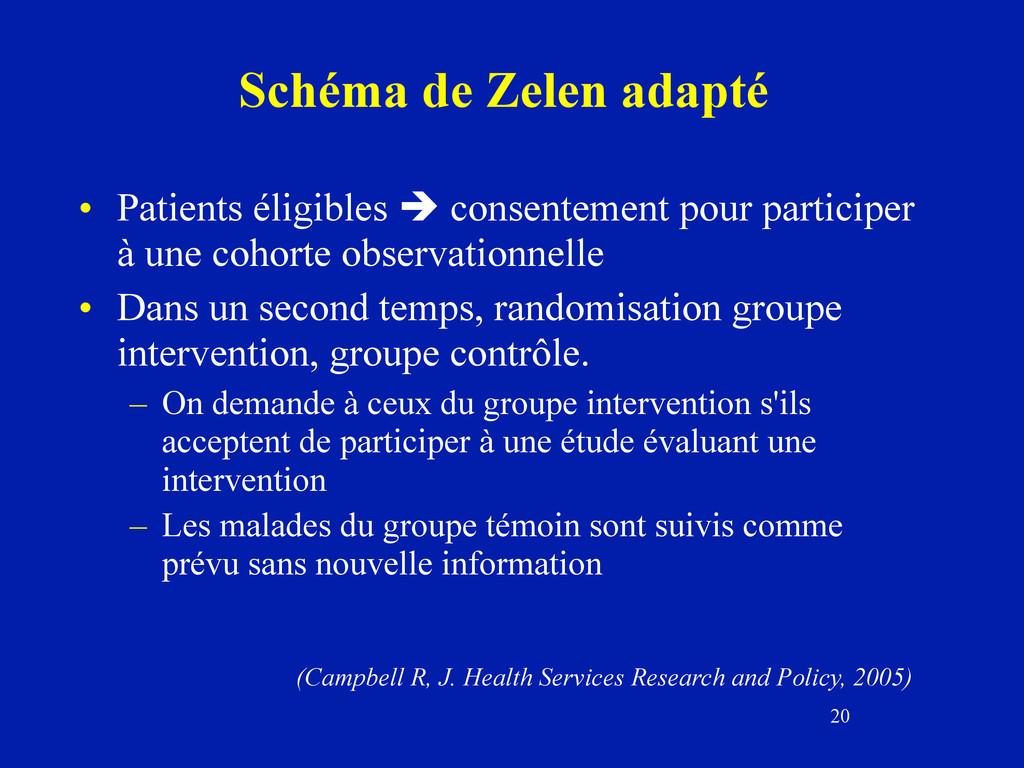 20 Schéma de Zelen adapté • Patients éligibles ...