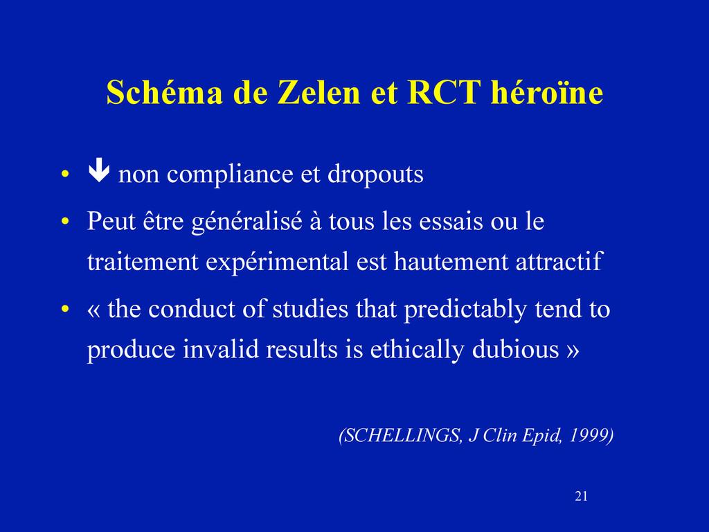 21 Schéma de Zelen et RCT héroïne •  non compl...