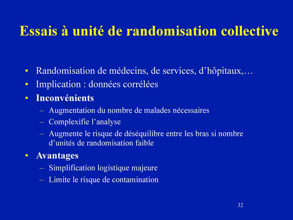32 Essais à unité de randomisation collective •...