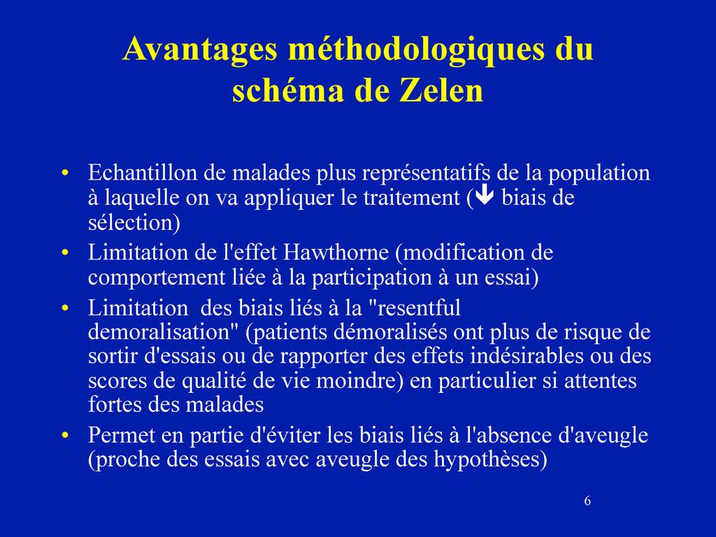 6 Avantages méthodologiques du schéma de Zelen ...