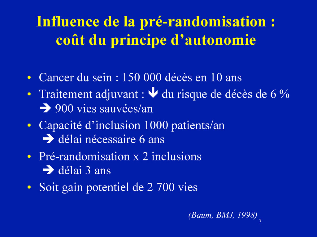 7 Influence de la pré-randomisation : coût du p...