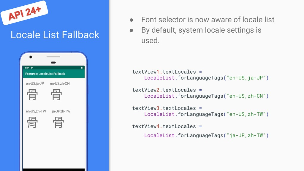 Locale List Fallback ● Font selector is now awa...
