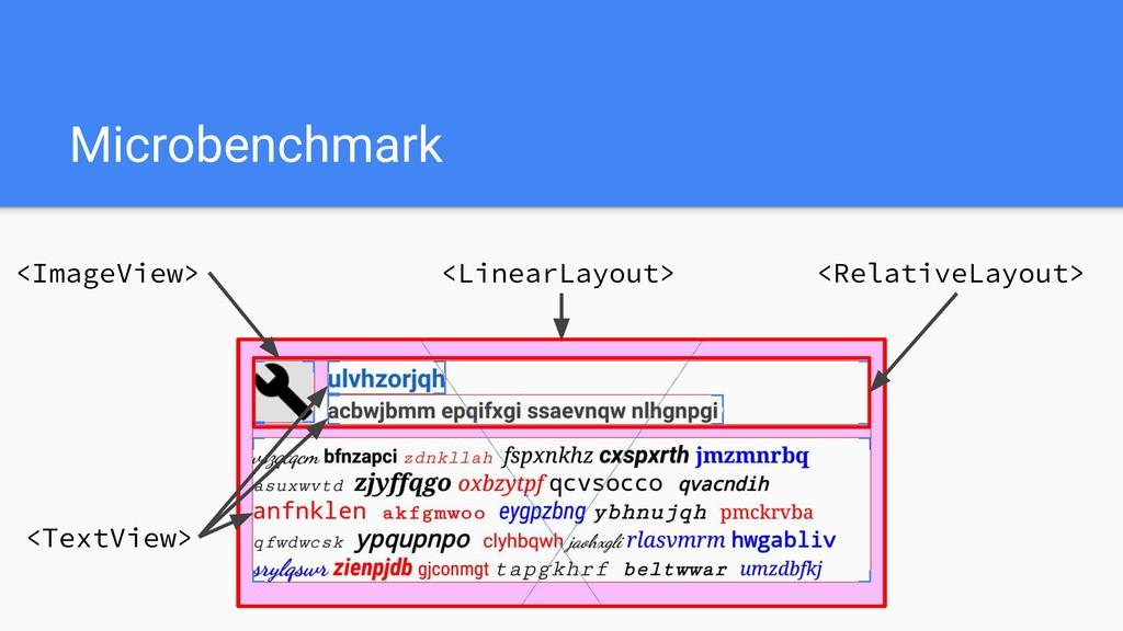 Microbenchmark <ImageView> <TextView> <Relative...