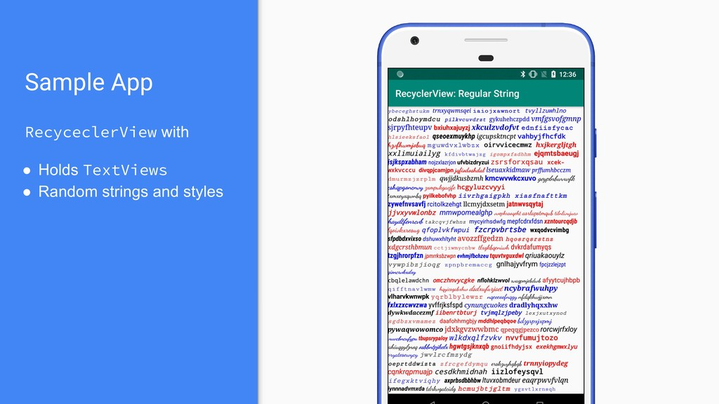 Sample App RecyceclerView with ● Holds TextView...