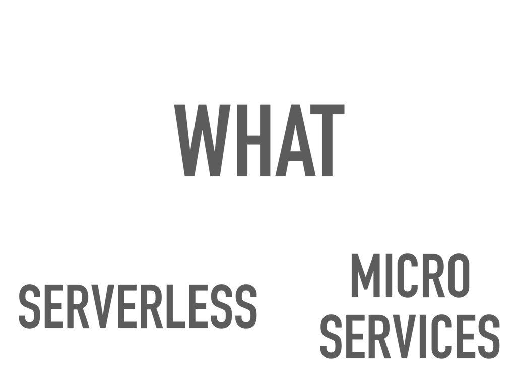 WHAT SERVERLESS MICRO SERVICES