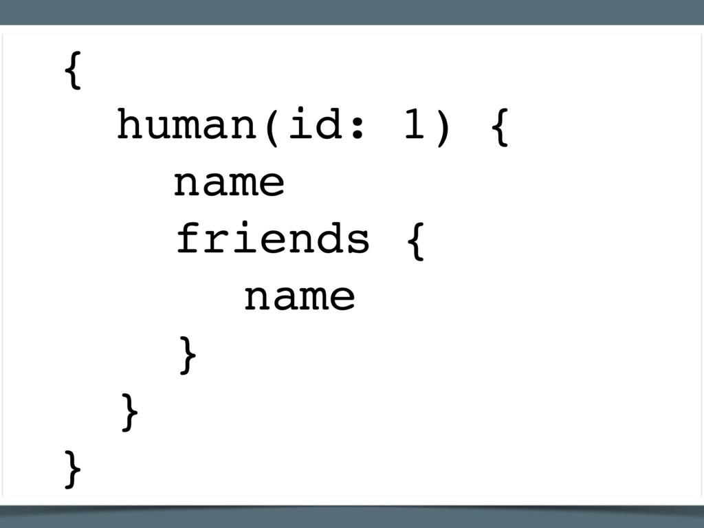 { human(id: 1) { name friends { name } } }