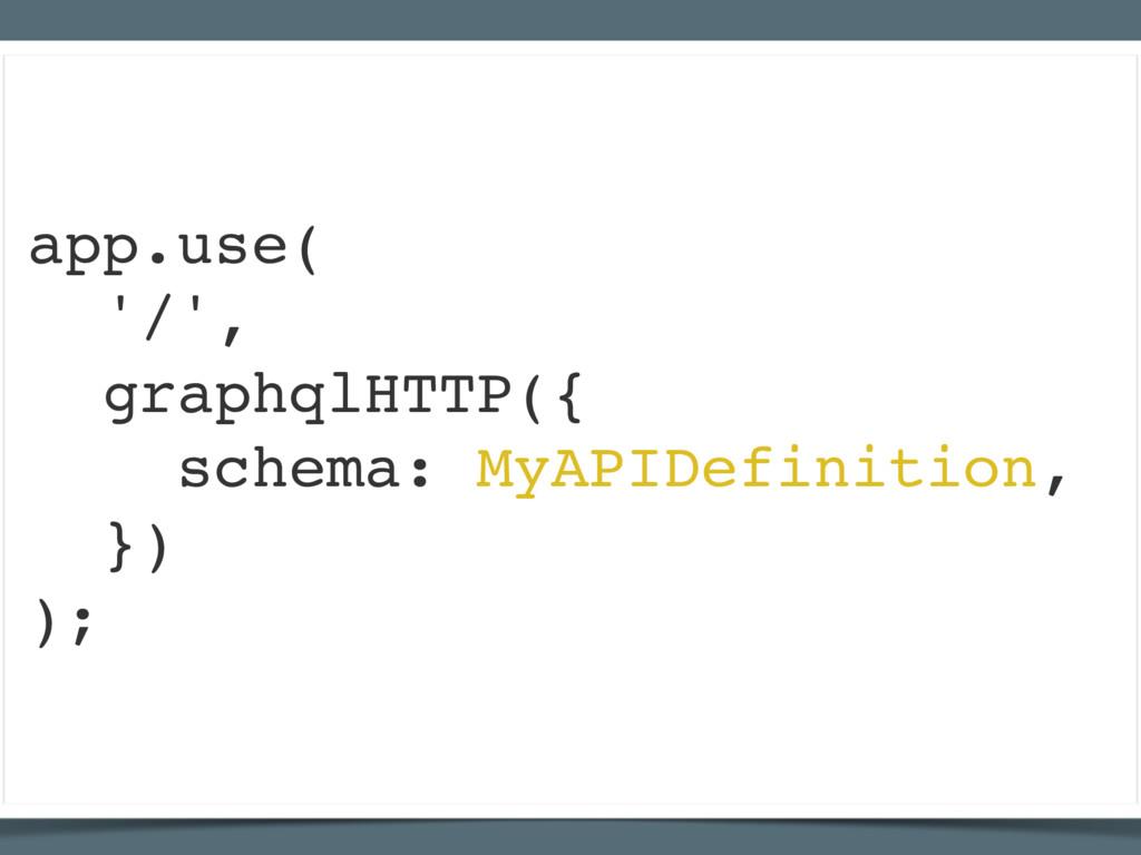 app.use( '/', graphqlHTTP({ schema: MyAPIDefini...