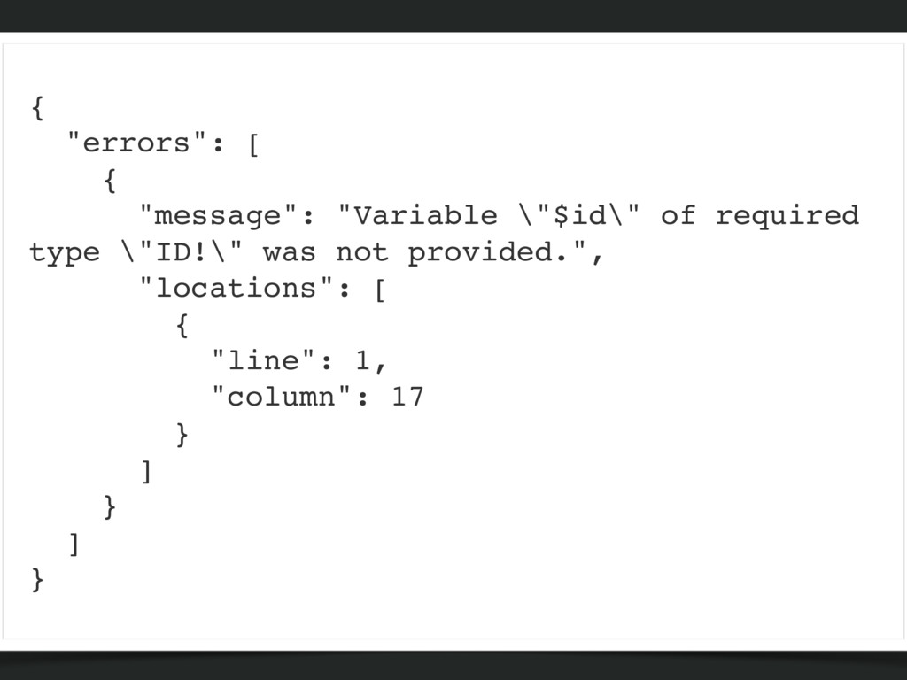 """{ """"errors"""": [ { """"message"""": """"Variable \""""$id\"""" of..."""