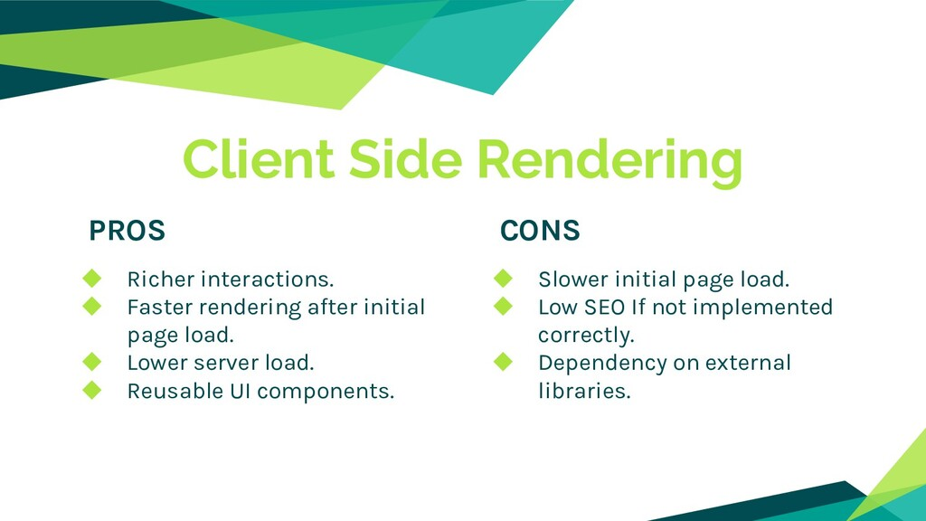 Client Side Rendering PROS CONS ◆ Richer intera...