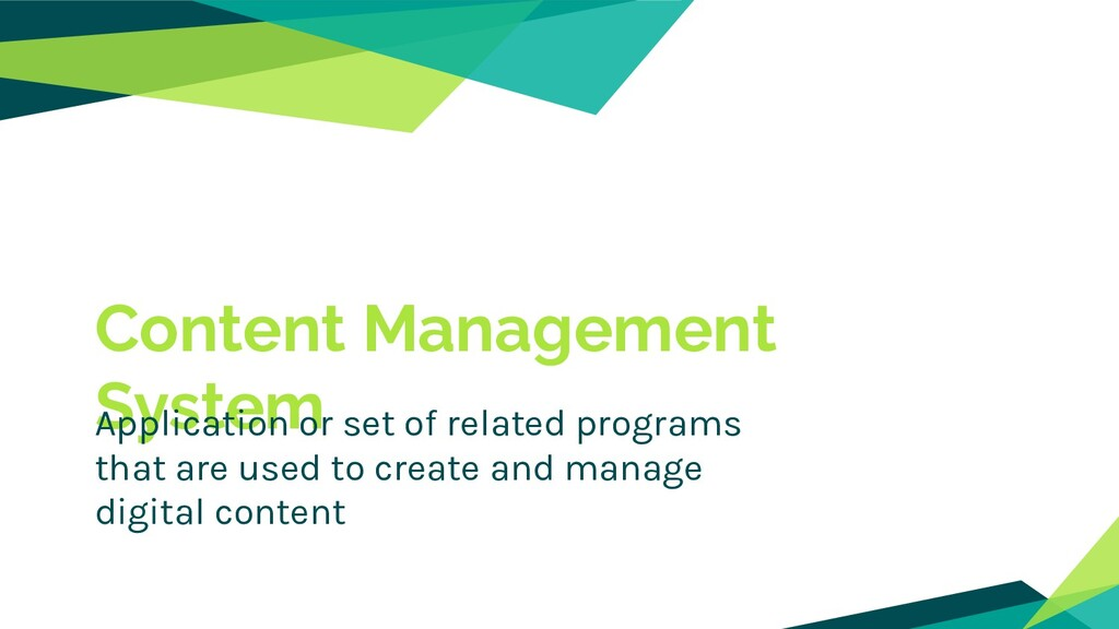 Content Management System Application or set of...