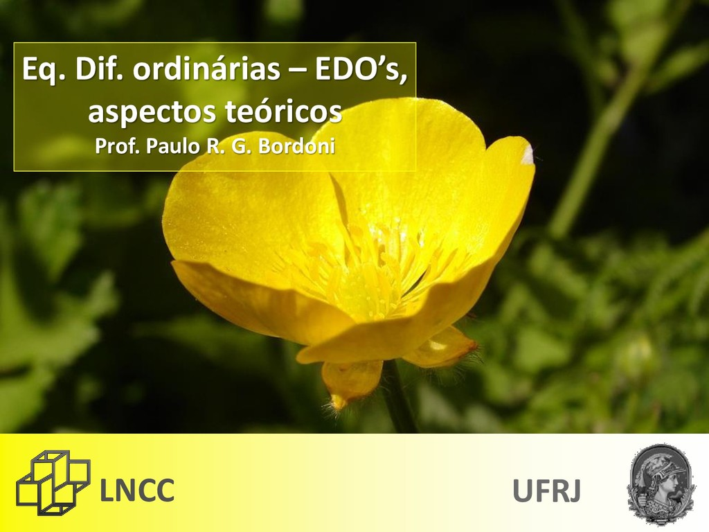 LNCC UFRJ Eq. Dif. ordinárias – EDO's, aspectos...