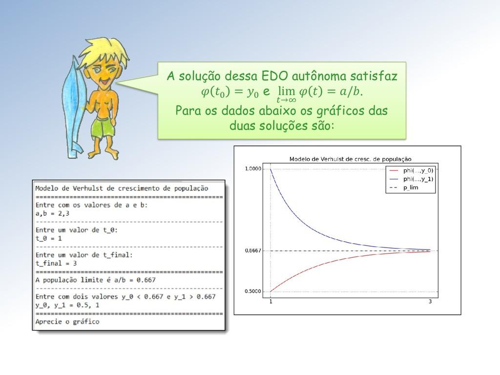 A solução dessa EDO autônoma satisfaz  0 = 0 e ...