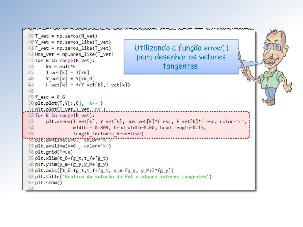 Utilizando a função arrow( ) para desenhar os v...