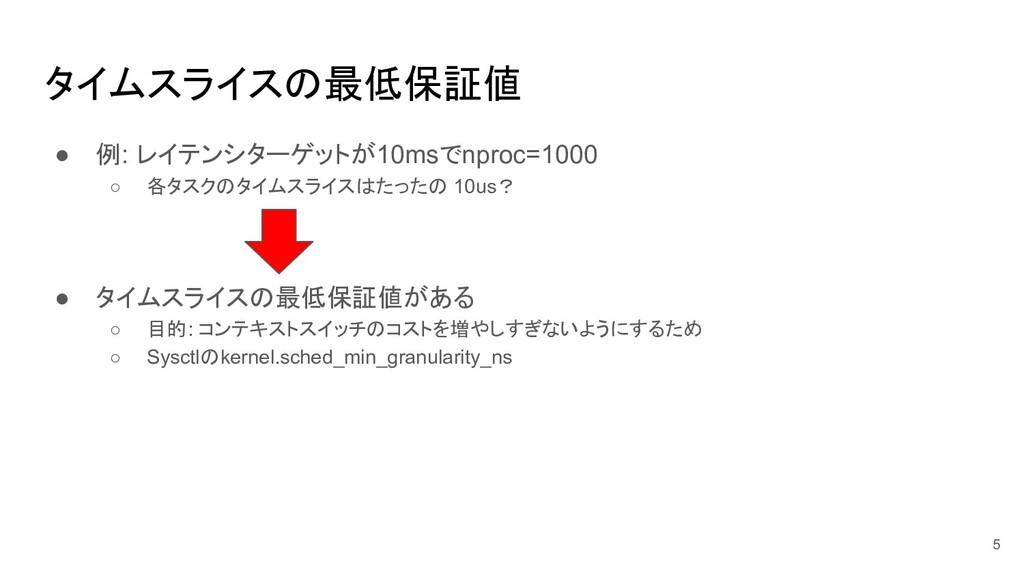 タイムスライスの最低保証値 ● 例: レイテンシターゲットが10msでnproc=1000 ○...