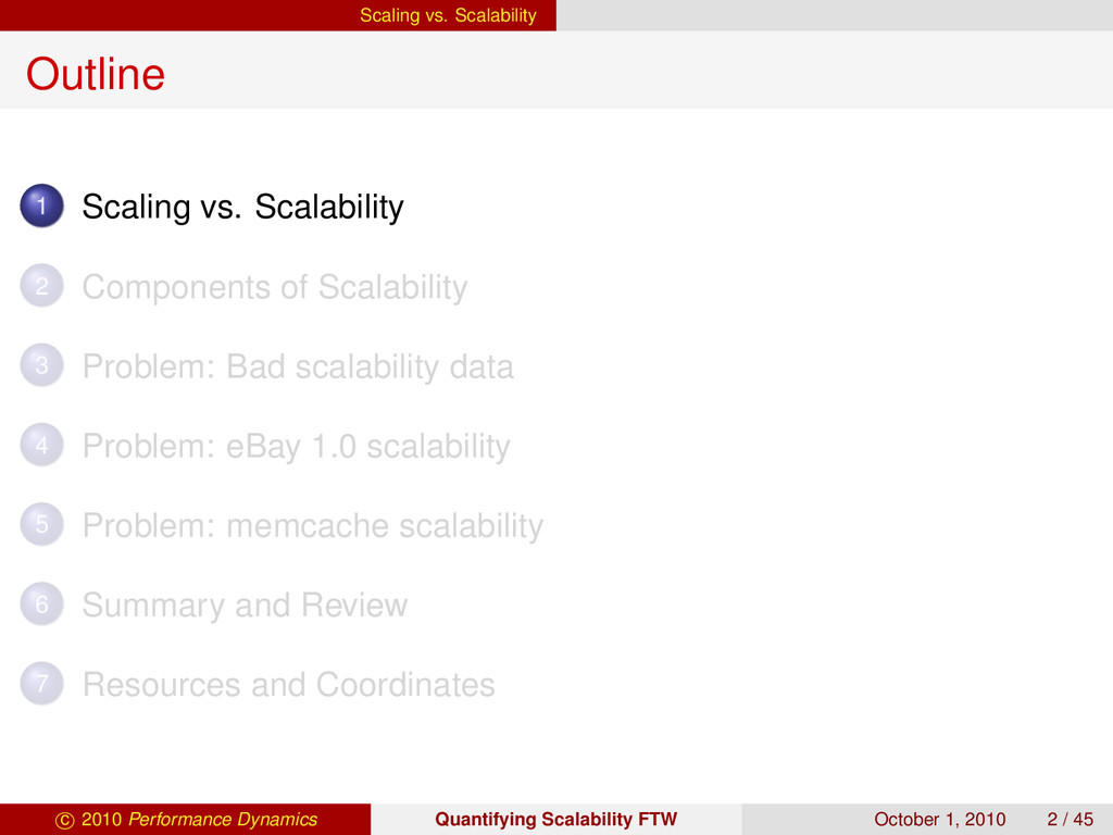 Scaling vs. Scalability Outline 1 Scaling vs. S...