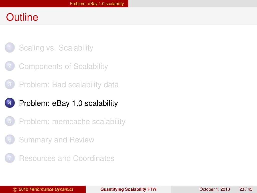 Problem: eBay 1.0 scalability Outline 1 Scaling...