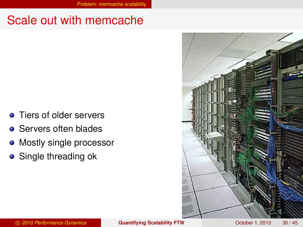 Problem: memcache scalability Scale out with me...