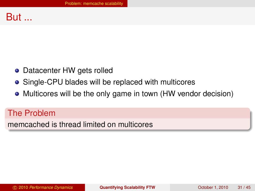 Problem: memcache scalability But ... Datacente...