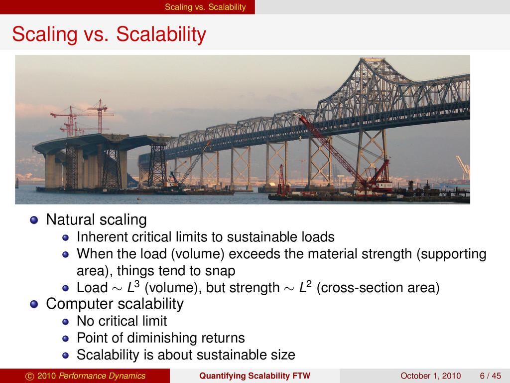 Scaling vs. Scalability Scaling vs. Scalability...