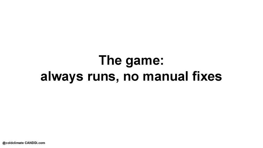The game: always runs, no manual fixes @coldcli...