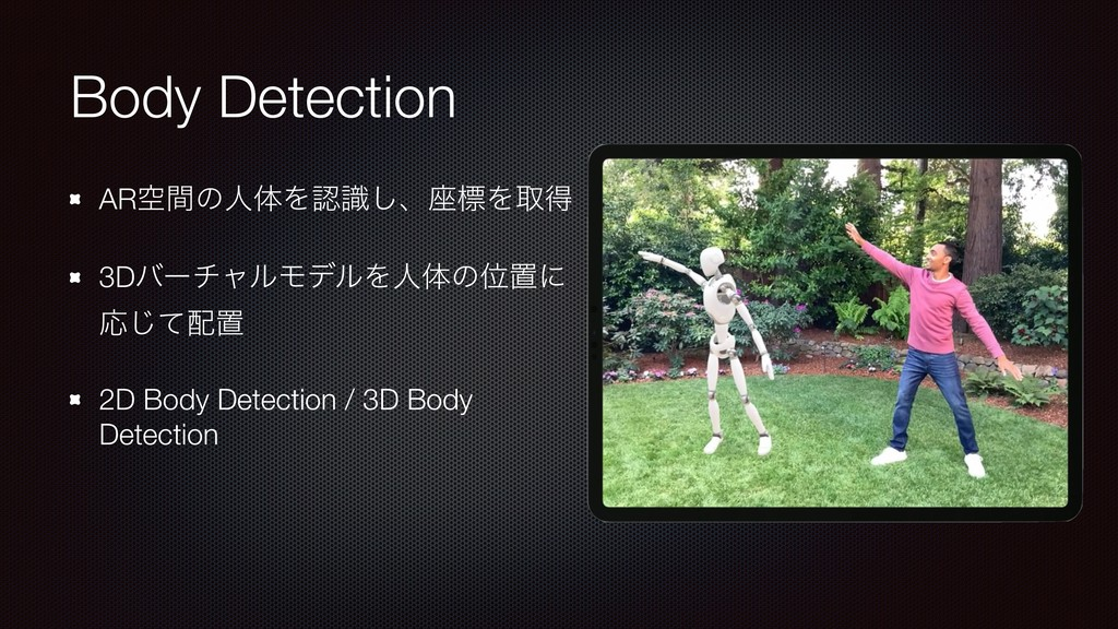 Body Detection ARۭؒͷਓମΛࣝ͠ɺ࠲ඪΛऔಘ 3DόʔνϟϧϞσϧΛਓମͷ...