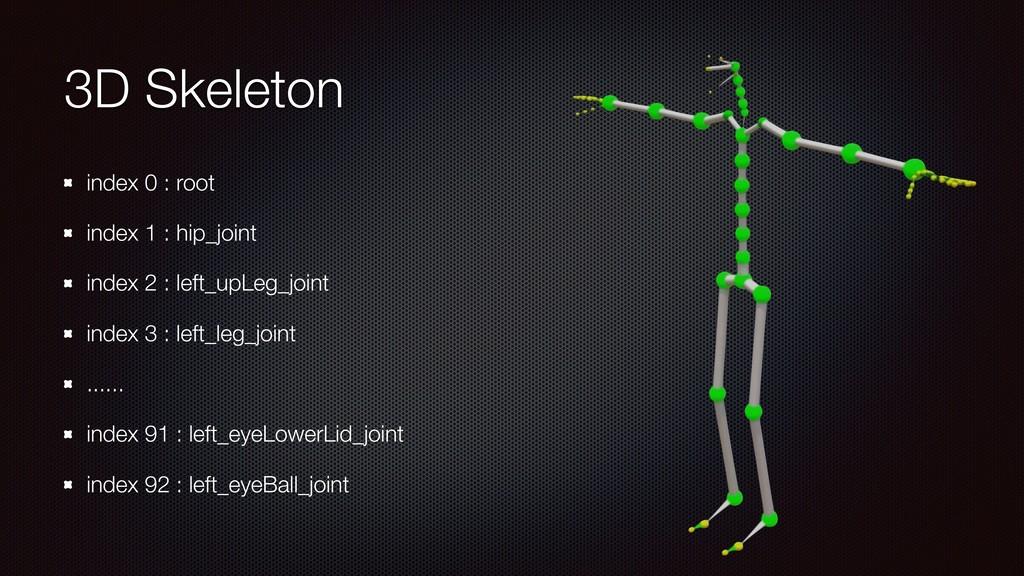 3D Skeleton index 0 : root index 1 : hip_joint ...