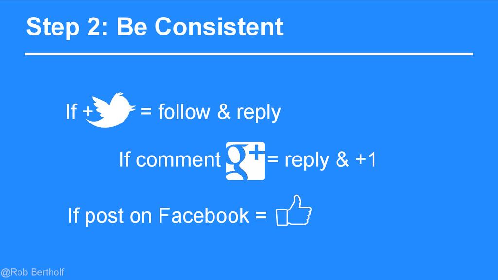 @Rob Bertholf Step 2: Be Consistent If + = foll...
