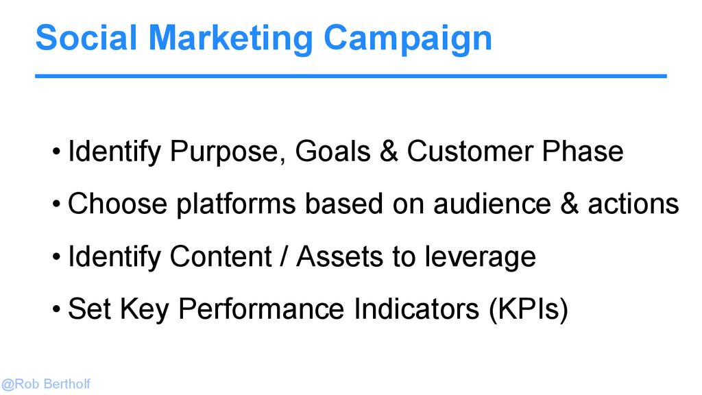 @Rob Bertholf Social Marketing Campaign • Ident...