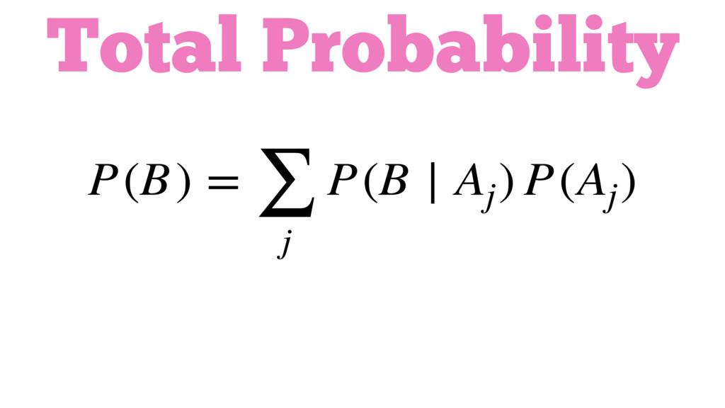 P(B) = ∑ j P(B ∣ Aj ) P(Aj ) Total Probability