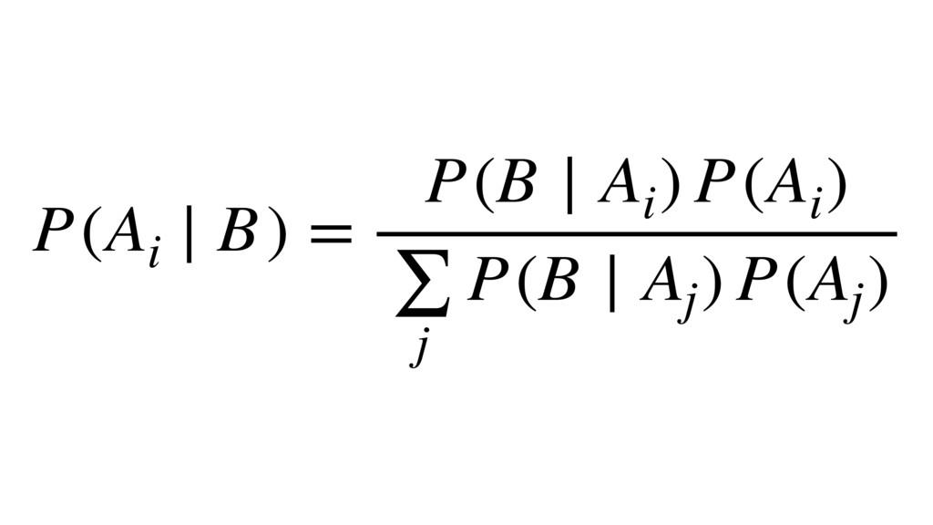 P(Ai ∣ B) = P(B ∣ Ai ) P(Ai ) ∑ j P(B ∣ Aj ) P(...