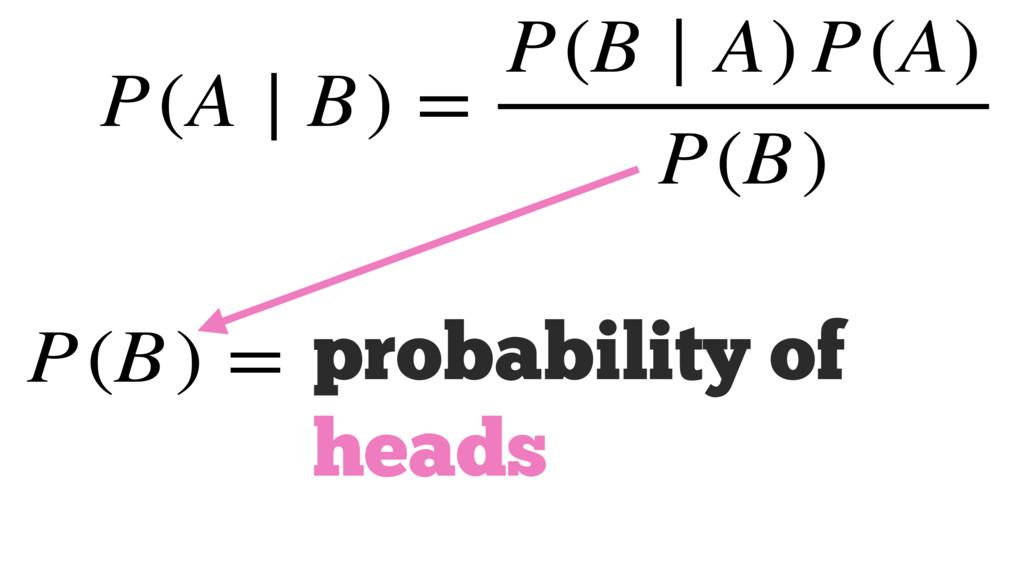 probability of heads P(A ∣ B) = P(B ∣ A) P(A) P...