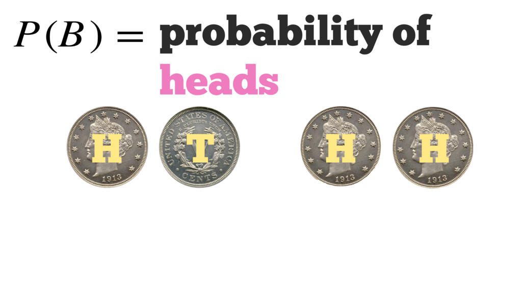 probability of heads P(B) = H H H T
