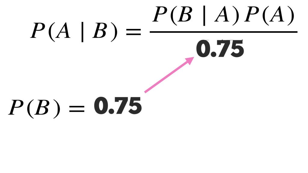 0.75 P(A ∣ B) = P(B ∣ A) P(A) P(B) P(B) = 0.75