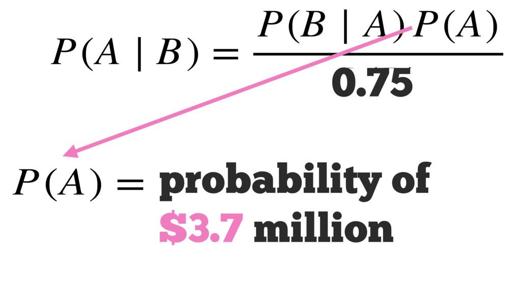 P(A) = P(A ∣ B) = P(B ∣ A) P(A) P(B) 0.75 proba...
